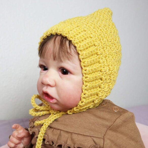 crochet lemonpeel baby bonnet