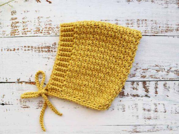 Lemon Peel Crochet Baby Bonnet