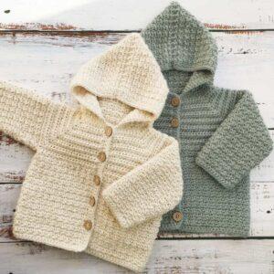 Lemon peel crochet baby jacket