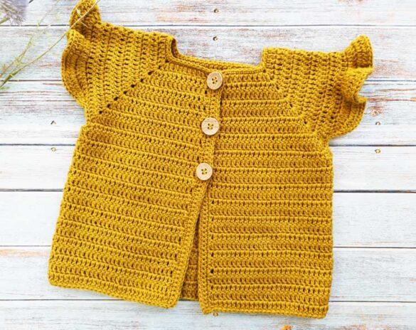 Ruffle Sleeve Crochet Baby Cardigan