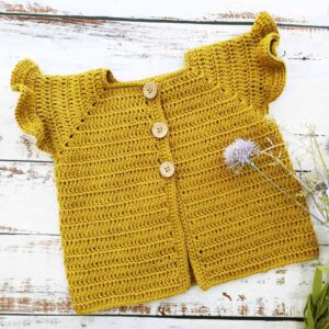 Ruffle Sleeve Crochet Baby Cardigan Size 6 Months to 3 Years
